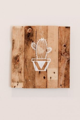 Cactus Reclaimed Wood Pallet Sign