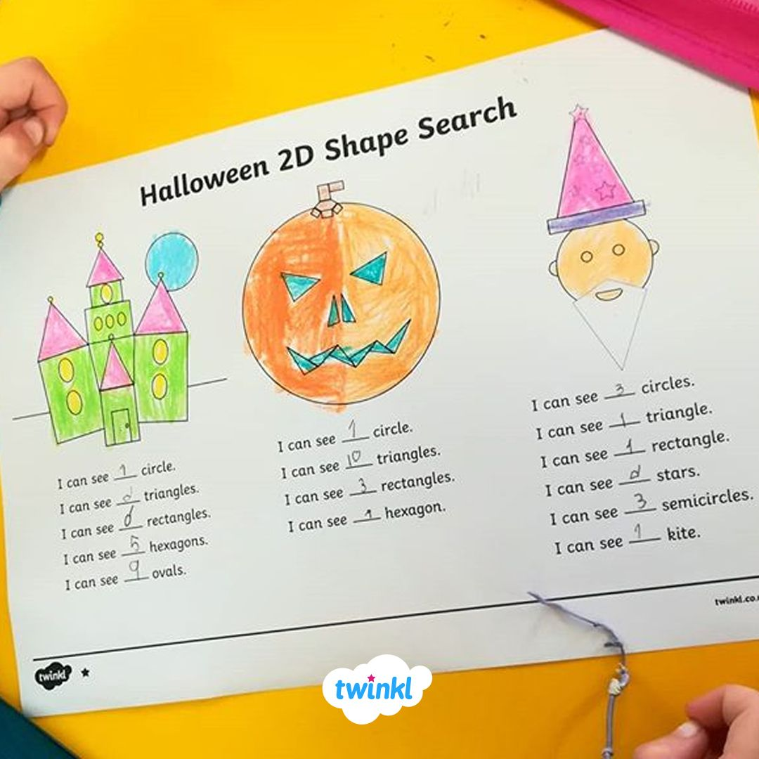 Halloween 2d Shape Search Activity Sheet Use This