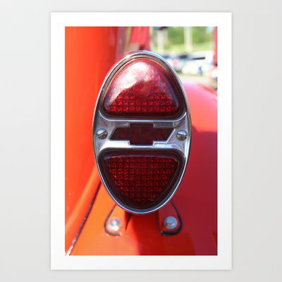 Chevy Rear Light Art Print by Andrea Jean Clausen - $17.68
