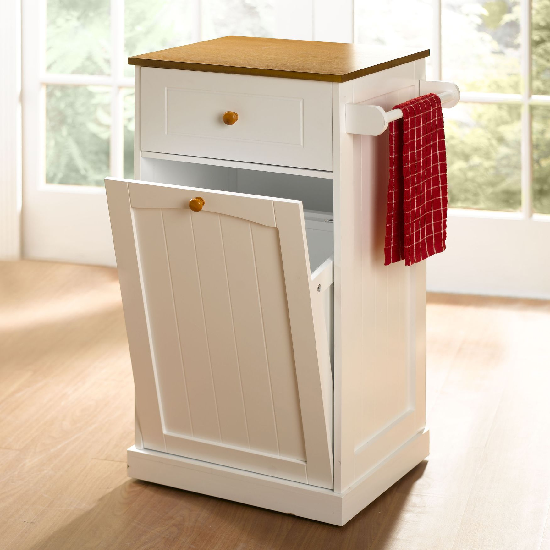 Country Kitchen Pull Out Trash Can Trash Cans Brylanehome