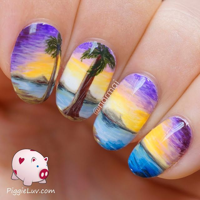View From A Tropical Beach Freehand Nail Art Brochures Beverage