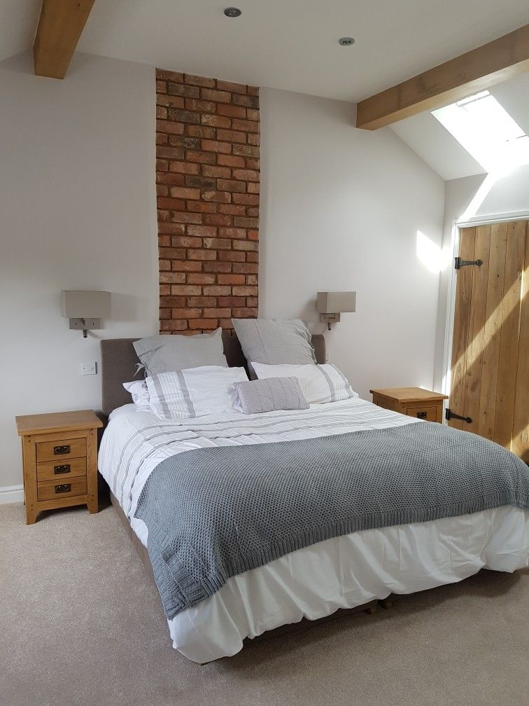 Best Our New Bedroom Neutral Pop Of Grey Brick Chimney 400 x 300