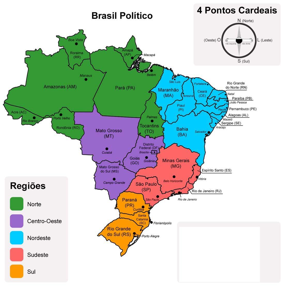 Mapa Politico Do Brasil Cinco Regioes Com Imagens Geografia