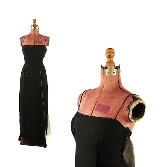 Vintage 1960's Estevez Black Crepe Hourglass Bombshell Pin Up Long Evening Prom Cocktail Dress S M