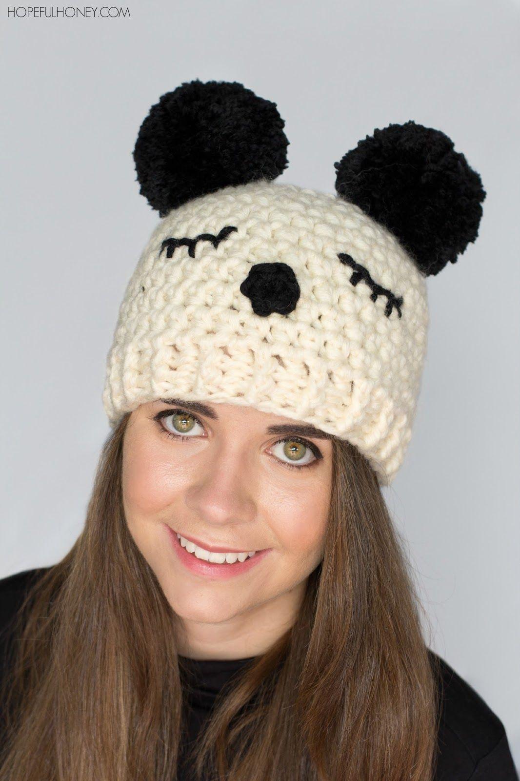 Panda Pompom Hat - Free Crochet Pattern | crochet | Croché ...