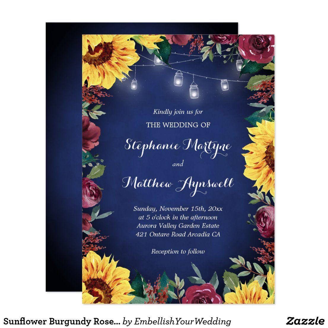 Sunflower Burgundy Rose Jar Lights Navy Wedding Invitation