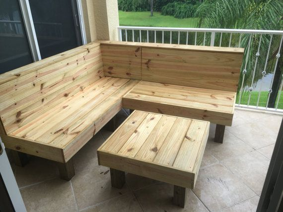 The Sectional - Rustic wood patio benches and table or ottoman ...