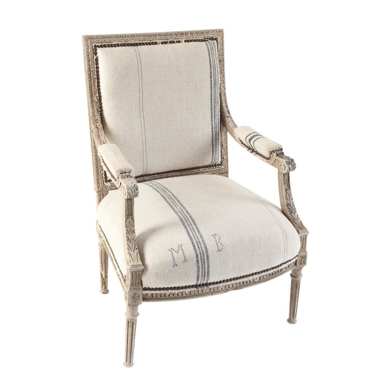 Chadwick Grain Sack Chair At Found Vintage Rentals Open
