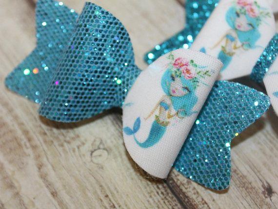 Mermaid girl bow half glitter bows holiday party bows