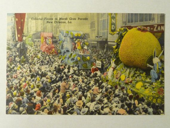 vintage mardi gras postcards | Vintage Postcard 1950s Mardi Gras Parade (Colorful and Vivid)