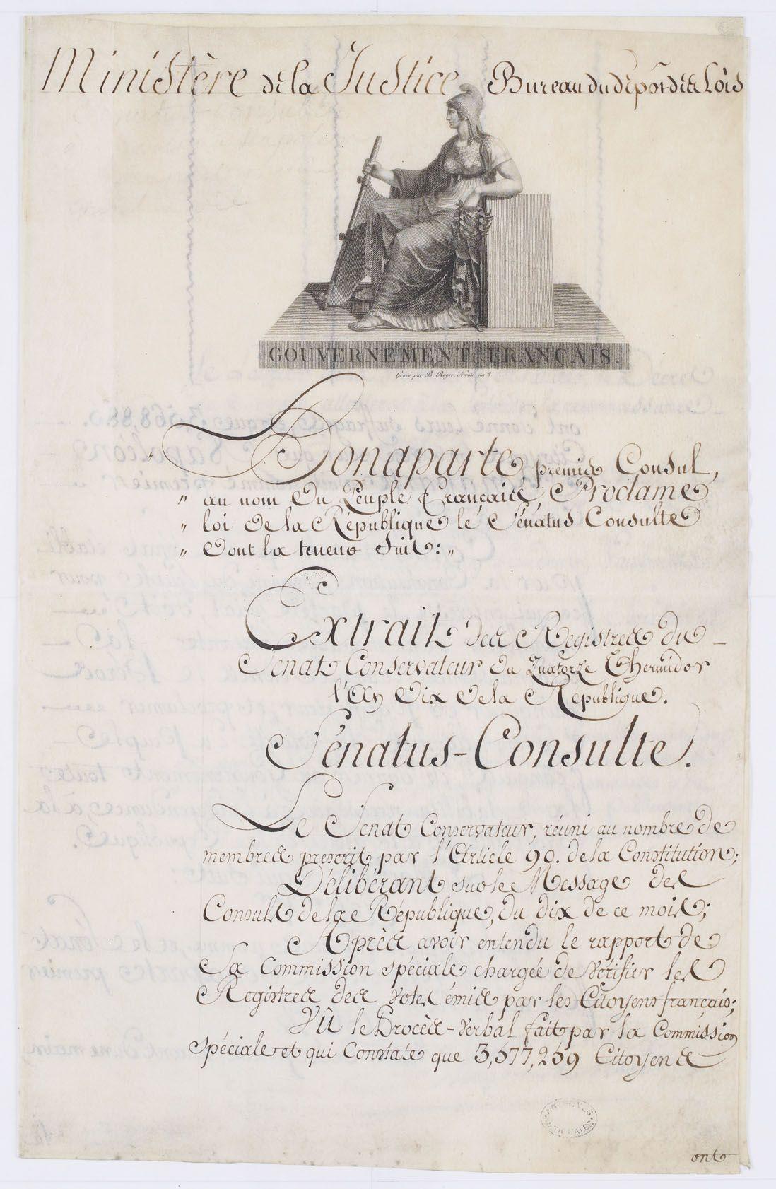 Le Sénatusconsulte du 15 thermidor an X (3 août 1802