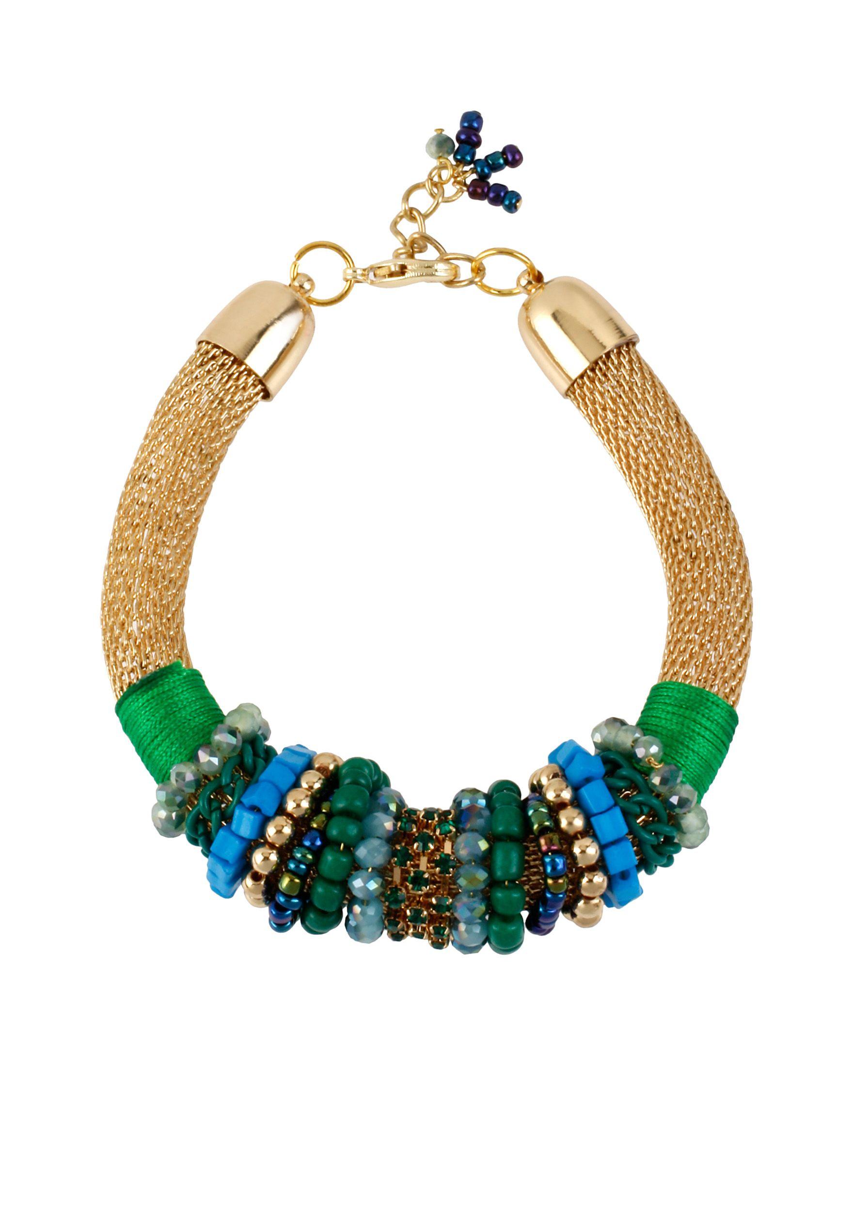b92766d83 CYNTHIA Cynthia Rowley Green Bead & Gold Mesh Bracelet  #CYNTHIACynthiaRowleyExclusively@Belk