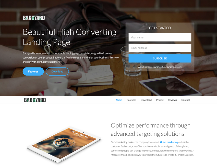 Landing Page Templates Free   Backyard Is A Free Landing Page Template By Bootstrapthemes Http