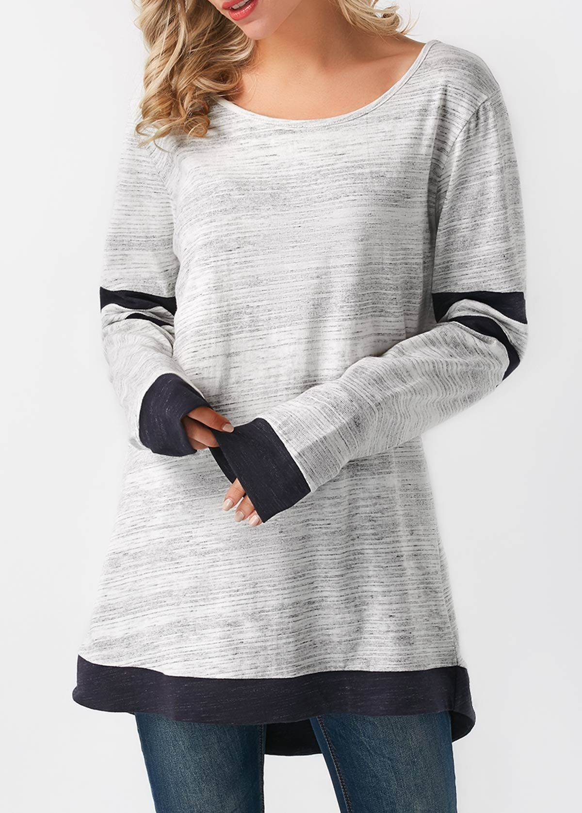 267716a2b7 Grey Long Sleeve Asymmetric Hem T Shirt | Rotita.com - USD $28.42 ...
