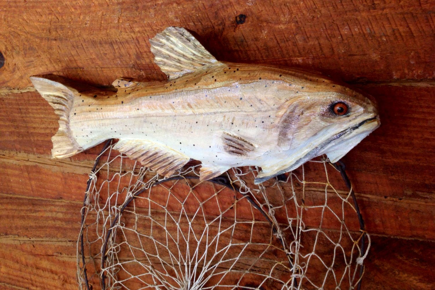 Channel catfish chainsaw wood carving indoor by