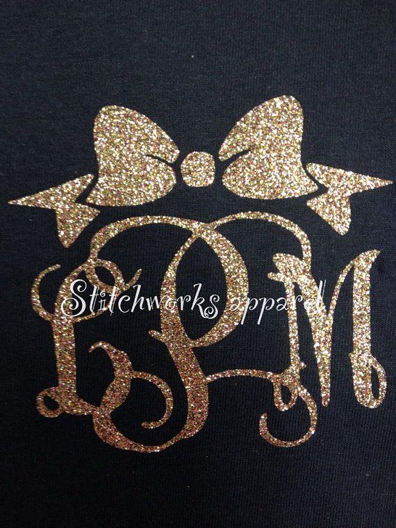 """glitter monogrammed t shirt """"dMs"""""""