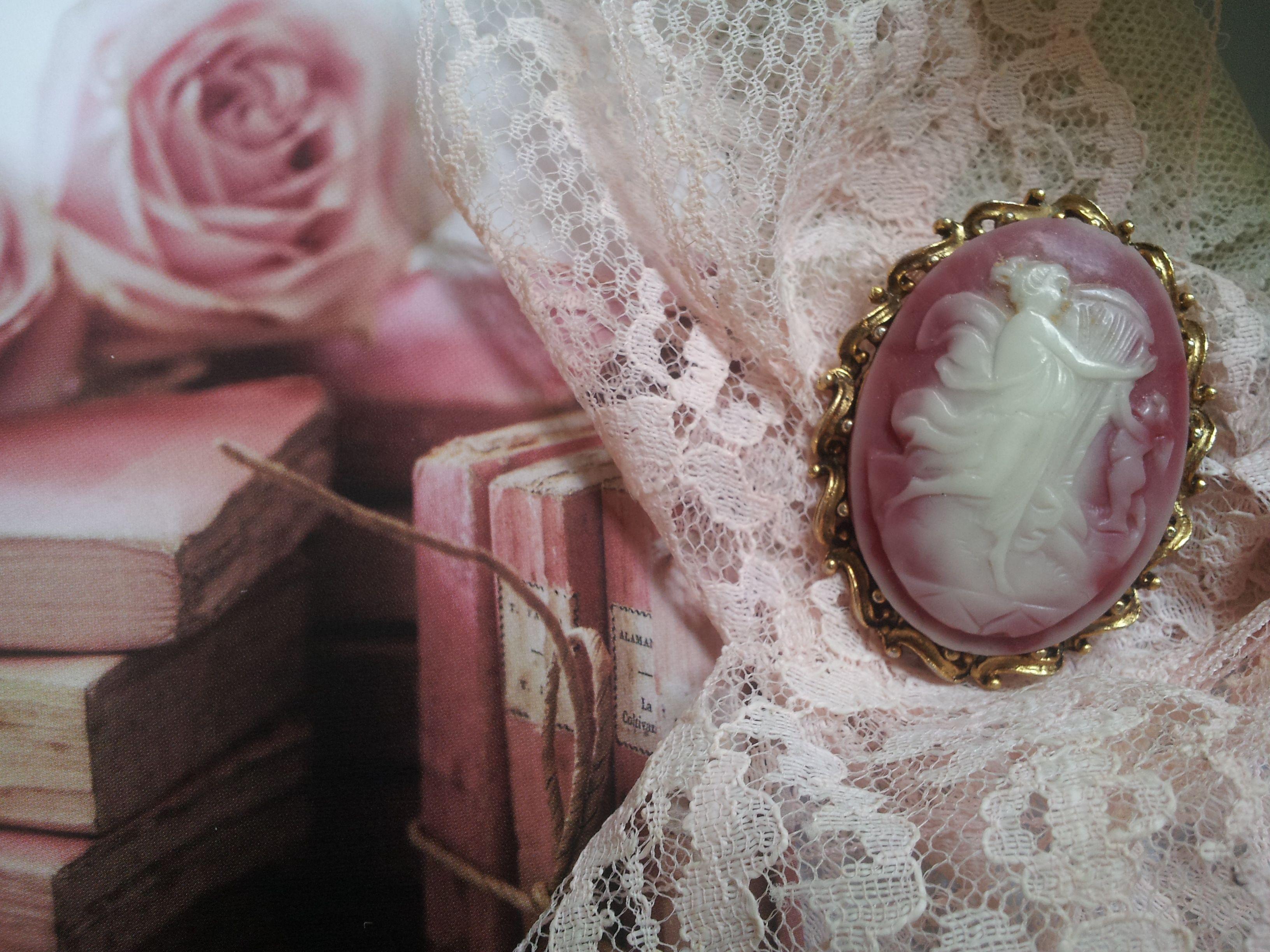 pretty pink cameo brooch