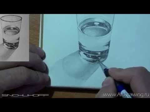 Стакан с водой - YouTube | Техники рисования акриловыми ...