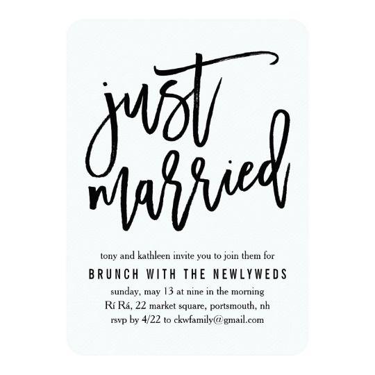 Just Married Post Wedding Brunch Invitation Zazzle Com Post Wedding Brunch Invitations Wedding Brunch Invitations Post Wedding
