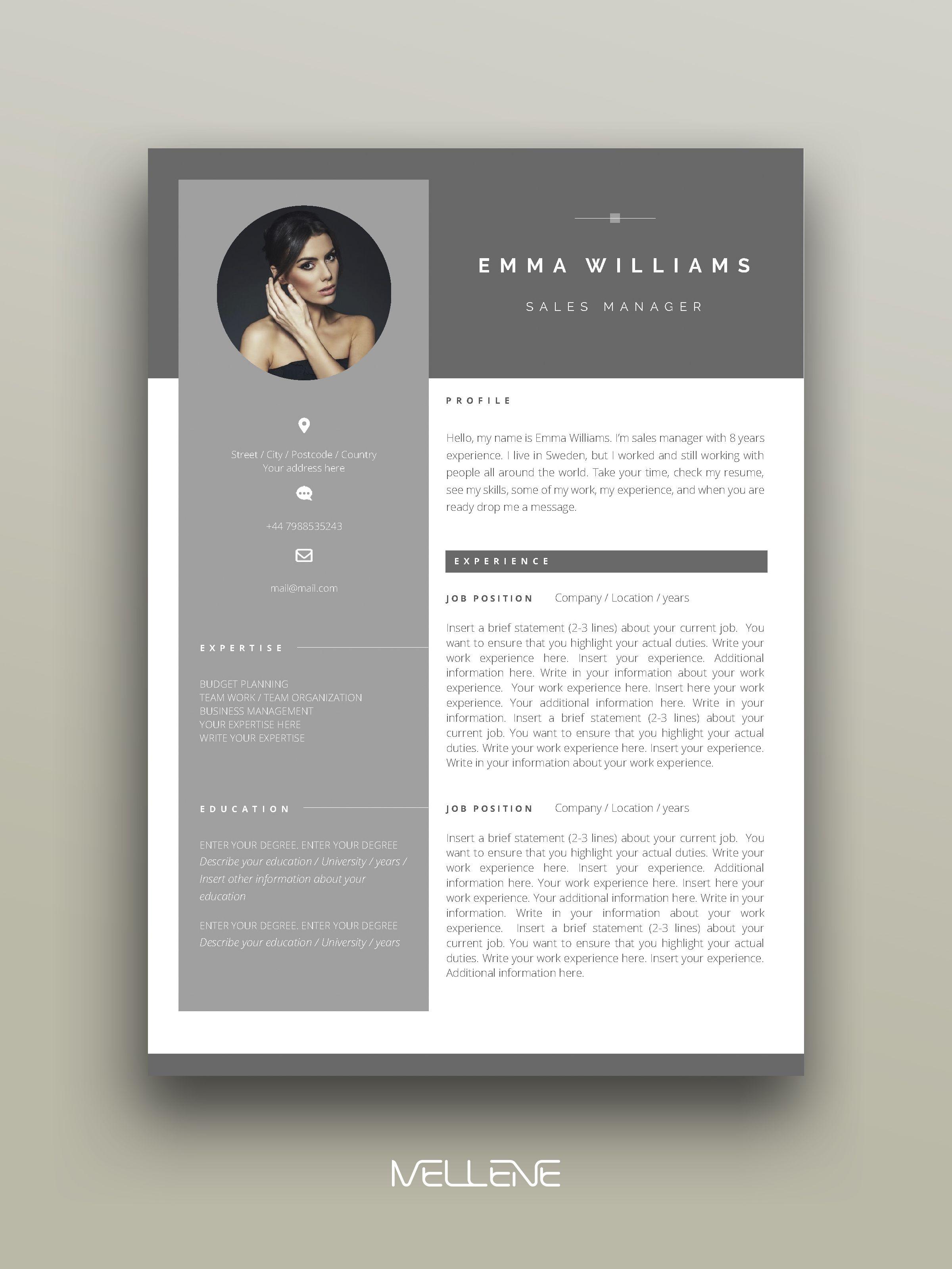 Cv Resume Template For Ms Word Professional Cover Letter Self Presentation Branding Design Graphic Design Resume Resume Design Creative Resume Design