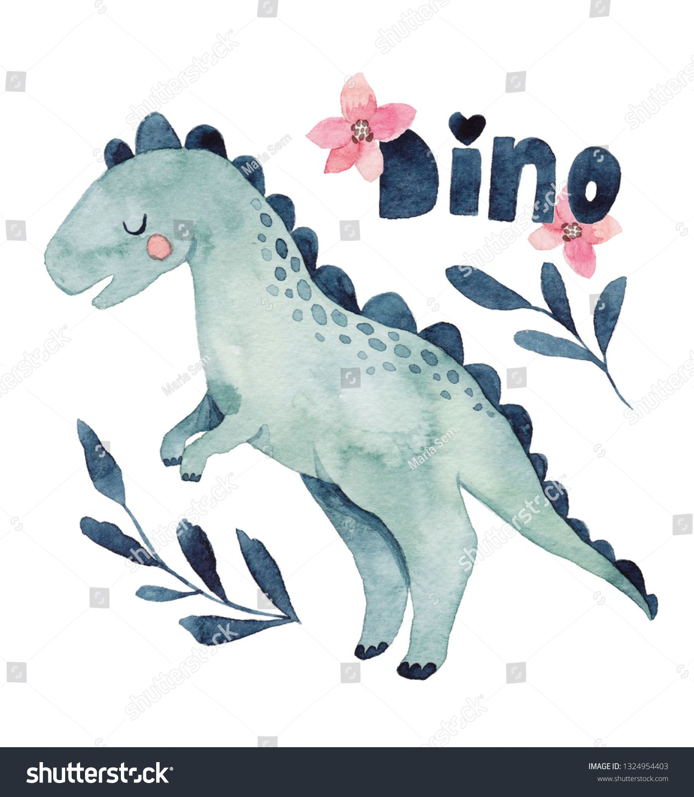 Cute Watercolor Illustration Dinosaur Stock Illustration 1324954403