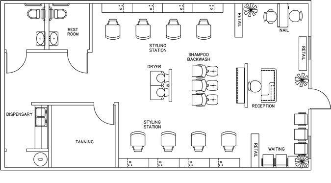 Beauty Salon Floor Plan Design Layout 1160 Square Foot Hair Salon Design Floor Plan Design Salon Design