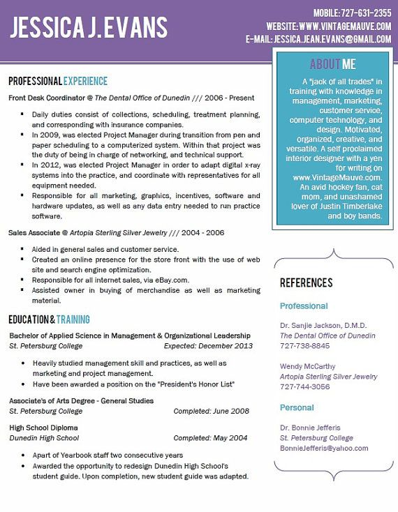 Beautiful Purple And Teal Resume Template With Cover Letter And Font On Etsy 5 00 Curriculum Vitae Examples Resume Cv Examples