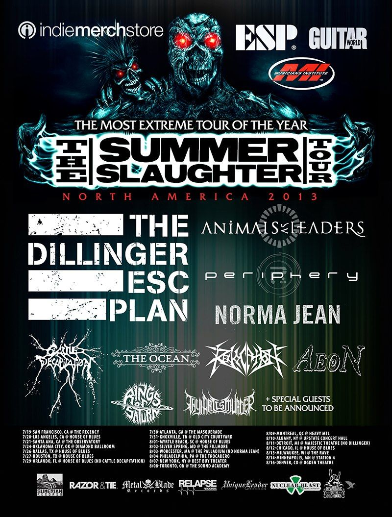 The Summer Slaughter Tour 2013 Tour Posters Tours How To Plan
