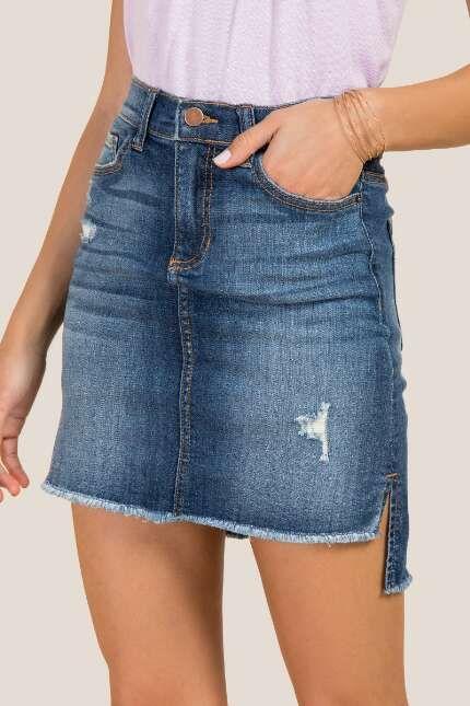 3d5319521 Dani Denim Split Step Hem Mini Skirt - I love that this is longer in the  back. So smart! #skirt #denim #need #ad #spring #springstyle #fashion  #clothes # ...