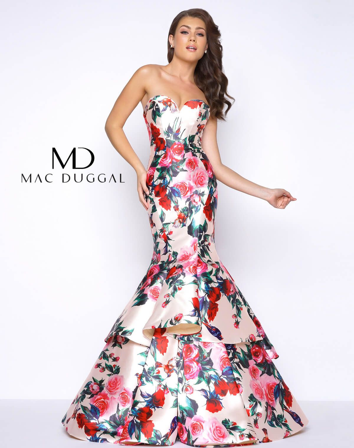 Floral rose print strapless sweetheart neckline open back