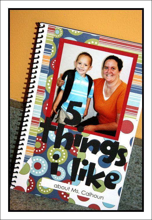 5 things I like book for teacher School teacher gifts
