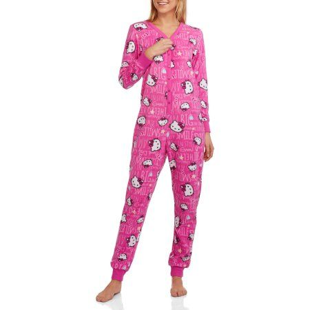 39828a58f9 Hello Kitty Women s and Women s Plus License Sleepwear Adult Onesie Union  Suit Pajama with Drop Seat (Sizes XS-3XL)
