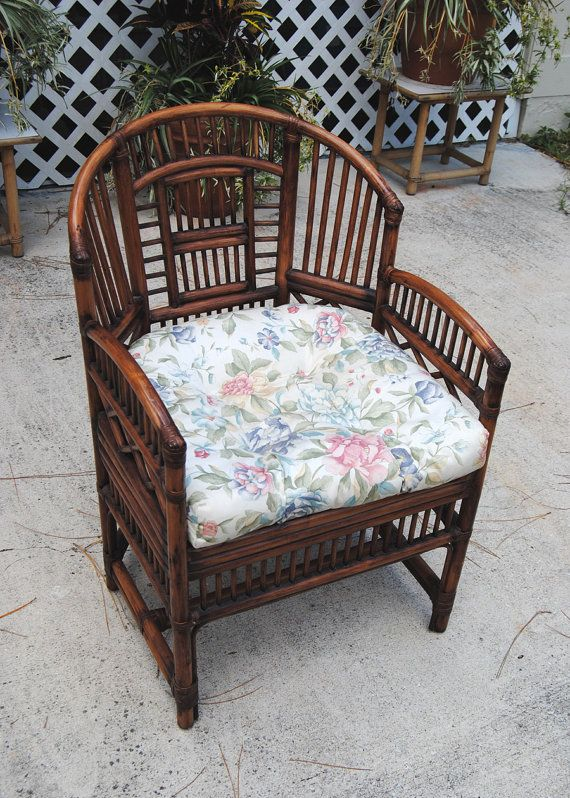 Vintage Brighton Style Rattan Bamboo Chair Asian Chinoiserie Palm Beach Hollywood Regency On Etsy 160 00
