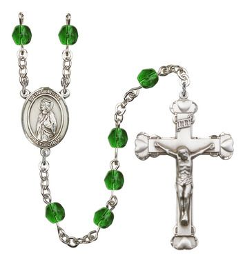 St. Alice Silver-Plated Rosary with 6mm Emerald Fire Polished beads