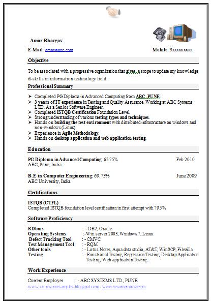 Computer Engineering Resume Format Download   Career