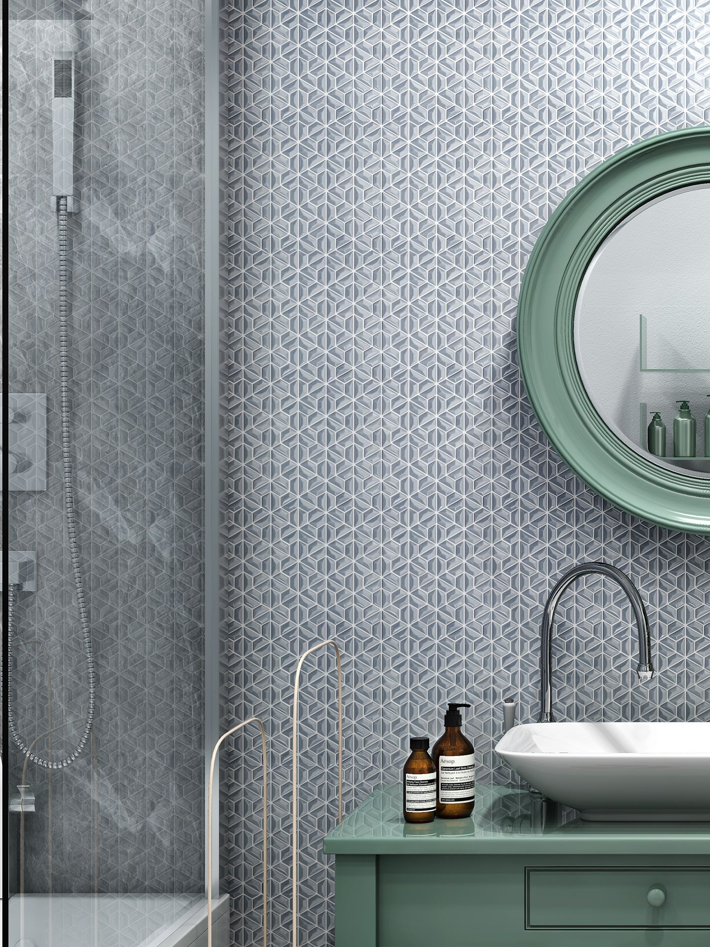 A beautiful Bathroom with wonderful 3D style glass mosaic, which ...