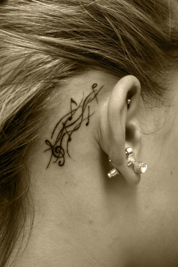 Music Staff Notes Tattoo Behind The Ear Ouch A Rather Extreme Way To Let People Know You Have Music In Your Music Tattoo Designs Ear Tattoo Music Tattoos