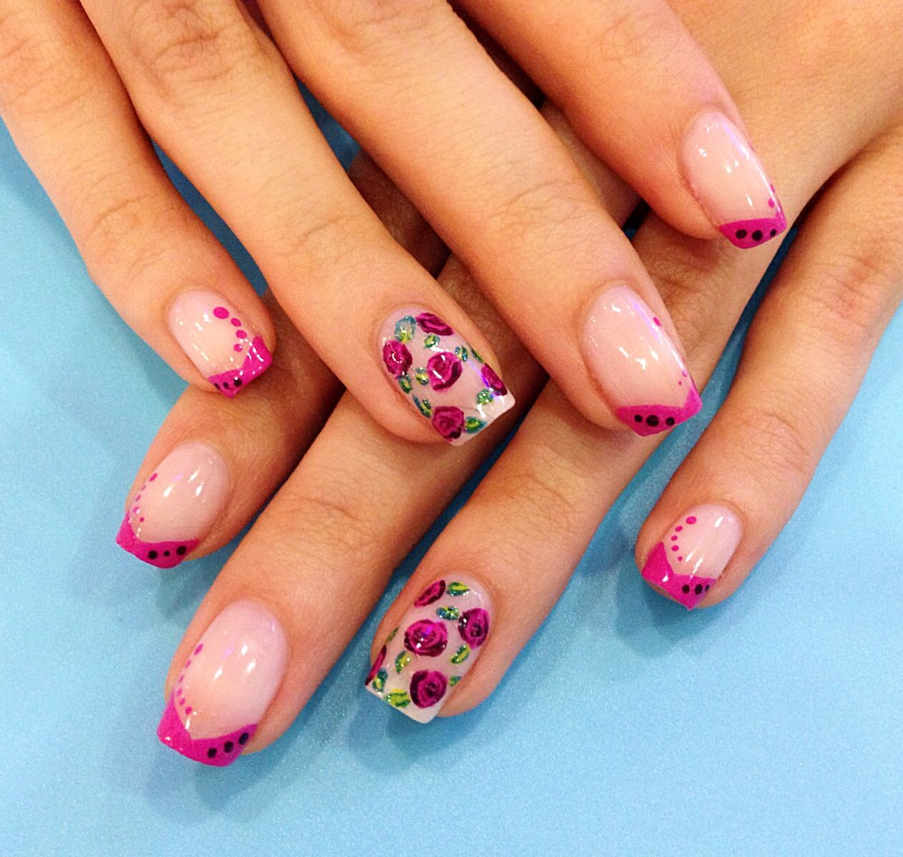 Pink Roses Nail Art, V-shaped French Manicure, Nail Art At