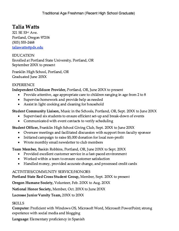 Recent High School Graduate Resume   Http://exampleresumecv.org/recent