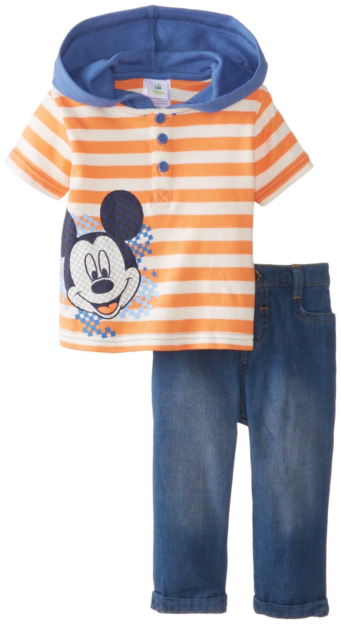 9e9b9a305 Disney Baby Baby-Boys Newborn Mickey Mouse Denim 2 Piece Pant Set,  Nectarine, 3-6 Months. #clothe