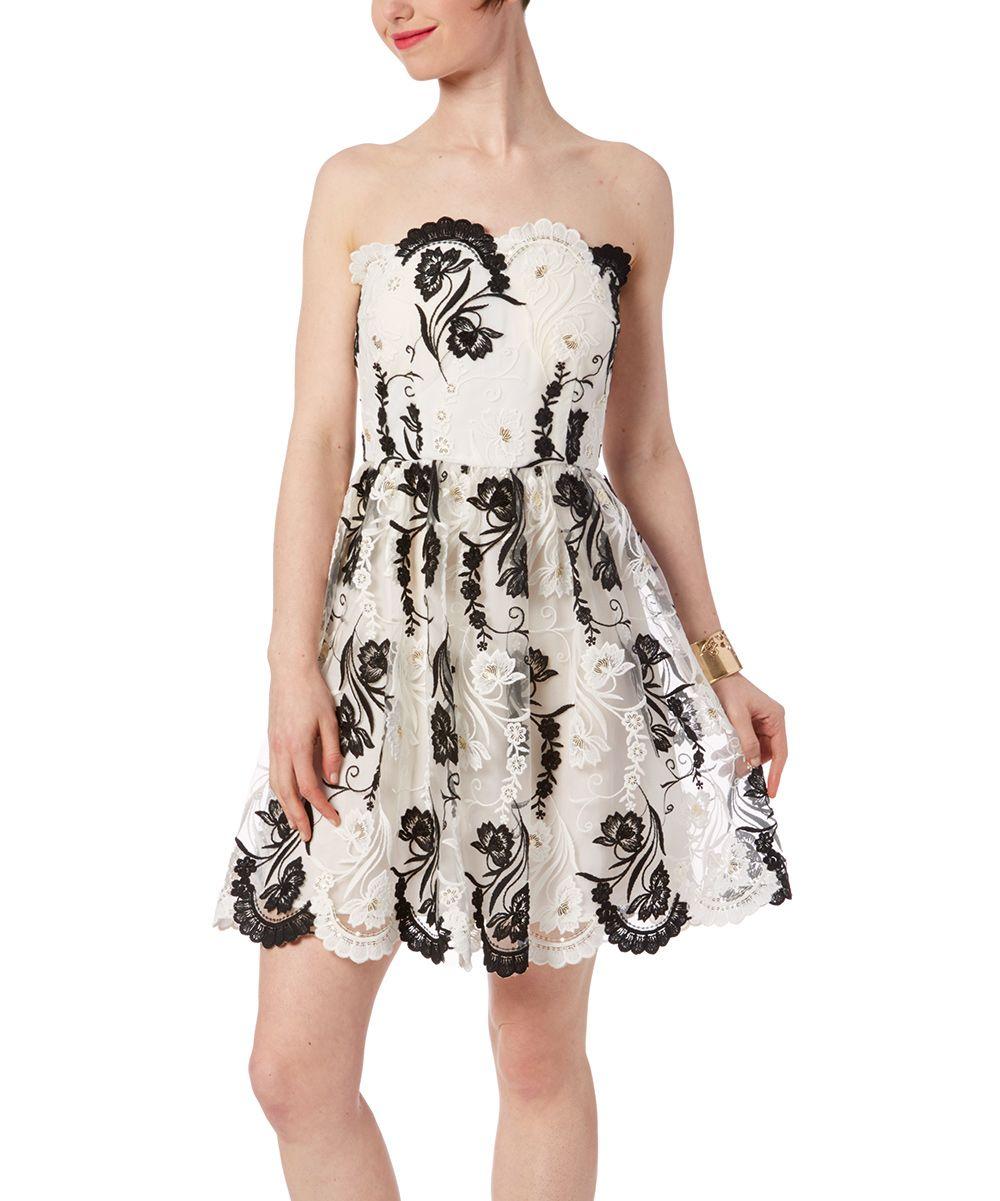 Black & White Lace Strapless Dress