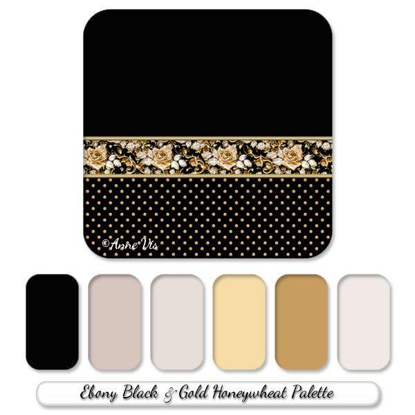 Stylish Black And Gold Wedding Line With Vintage Roses Color Palette Gold Color Palettes Gold Color Scheme Vintage Rose Wedding