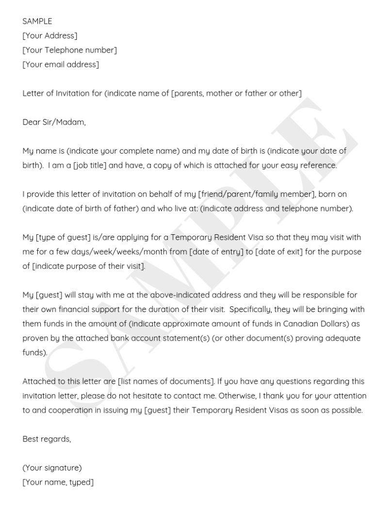 20 Invitation Letter To Visit Canada Sample