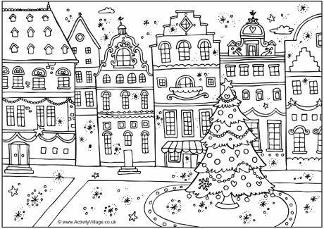 Festive Street Colouring Page Coloriage Noel Coloriage Noel Gratuit Dessin Noel