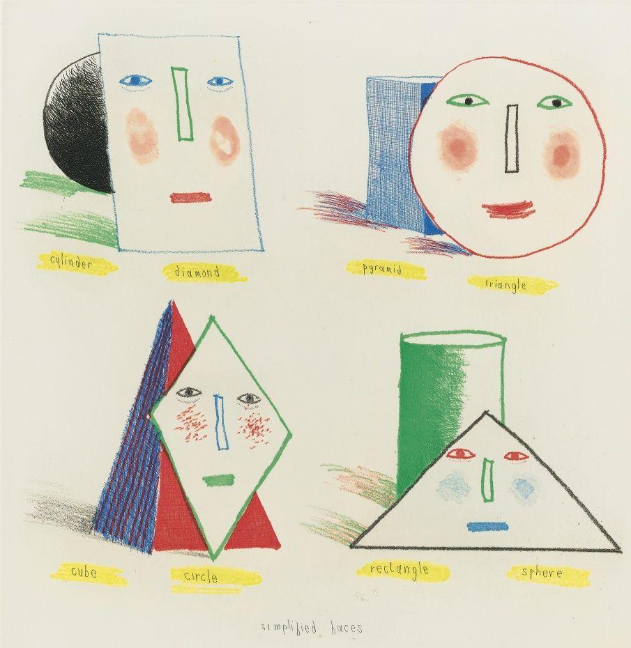 DAVID HOCKNEY SIMPLIFIED FACES STATE II, 1973
