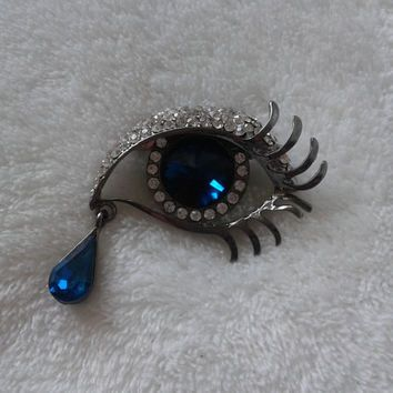 Blue crystal eye rhinestone   brooch  pin