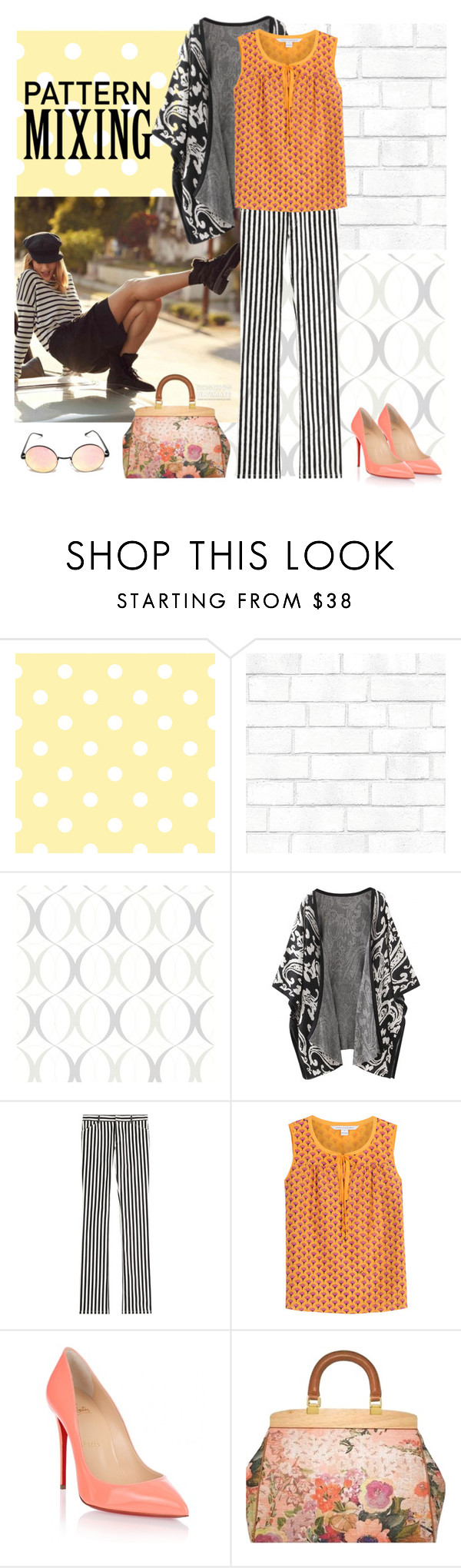 """""""#pattern mixing"""" by elizaja68 ❤ liked on Polyvore featuring Tempaper, Brewster Home Fashions, Whiteley, Philosophy di Lorenzo Serafini, Diane Von Furstenberg, Christian Louboutin and Tory Burch"""