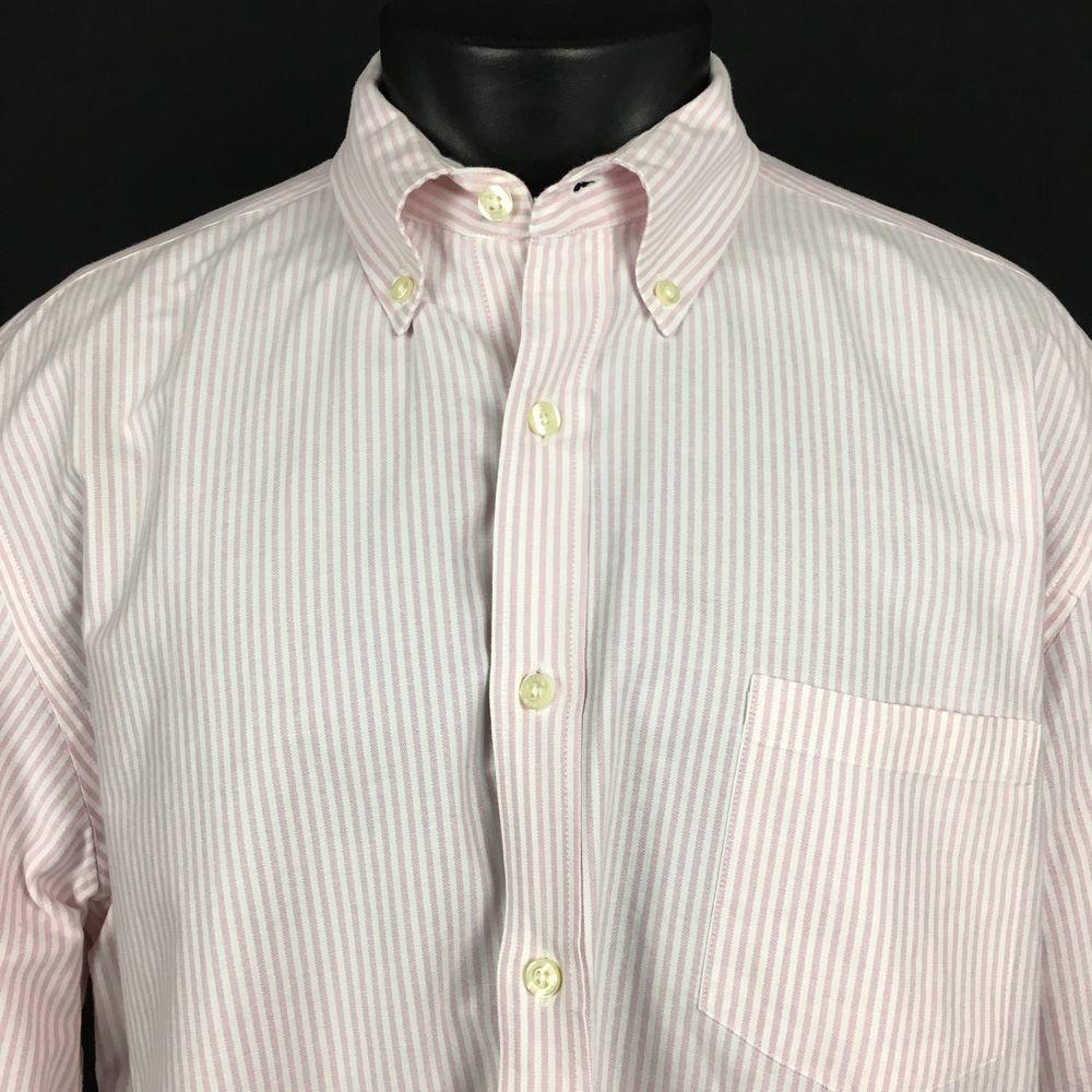 0e8e12e61f0 J. Crew Vintage Oxford Shirt Tailored Fit Men s XL Pink White Striped  Button Up  JCREW  ButtonFront