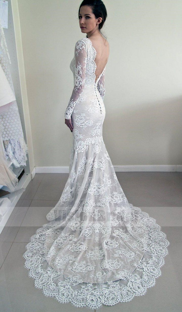 Alluring scoop neckline long sleeves lace mermaid wedding dress