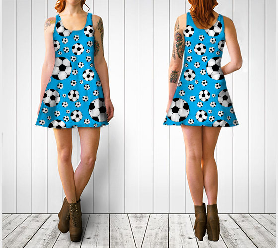 "Flare dress ""Sky blue soccer balls dress"" by Brothergravydesigns"